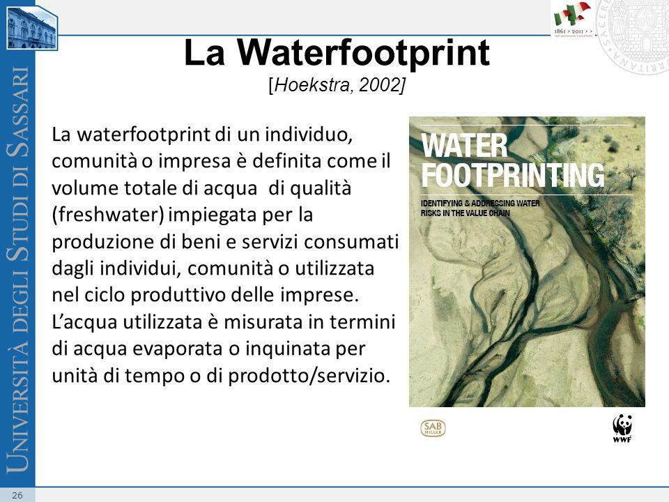 La Waterfootprint [Hoekstra, 2002]